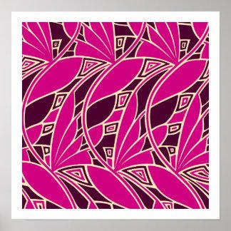 Ámbar cerise de los tessellations del nouveau del póster