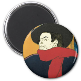 Ambassadeurs: Artistide Bruant by Toulouse Lautrec 2 Inch Round Magnet