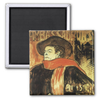 Ambassadeurs; Artistide Bruant by Toulouse Lautrec 2 Inch Square Magnet