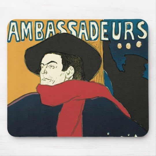 Ambassadeurs: Artistide Bruant by Toulouse Lautrec Mouse Pad