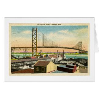 Ambassador Bridge Detroit, Michigan Vintage Greeting Card