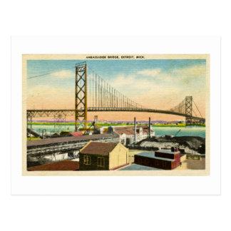 Ambassador Bridge Detroit, Michigan Vintage Postcard