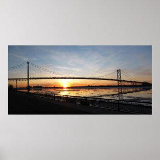 Ambassador Bridge Sunset Poster