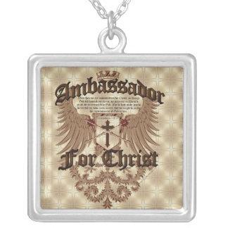 Ambassador For Christ, Corinthians Bible Verse Square Pendant Necklace