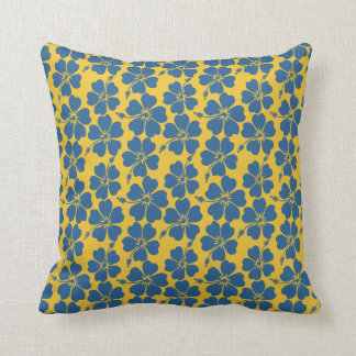 Amber and cadet blue hibiscus pattern throw pillow