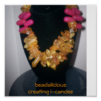 amber and pink candy jade necklace.jpg, beadali... poster