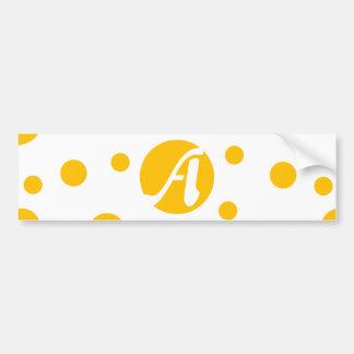 Amber and White Polka Dots Monogram Bumper Sticker