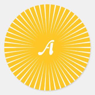 Amber and White Sunrays Monogram Sticker