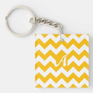 Amber and White Zigzag Monogram Acrylic Key Chain