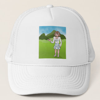 Amber, anime art gallery character trucker hat