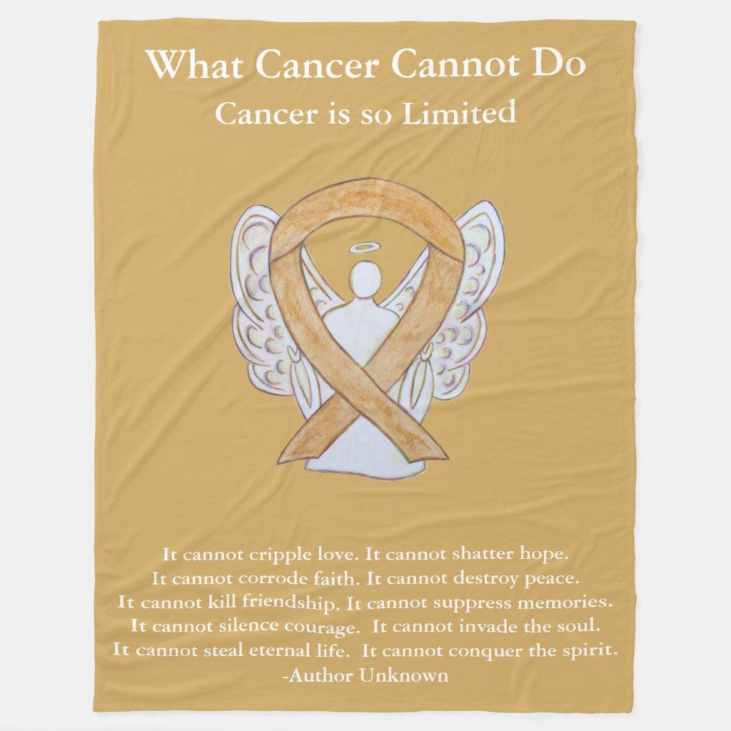 Amber Awareness Ribbon Angel Cancer Chemo Blanket