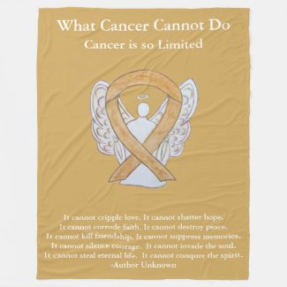 Amber Awareness Ribbon Angel Cancer Chemo Blanket