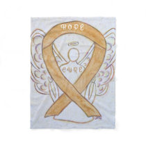 Amber Awareness Ribbon Appendix Cancer Blanket