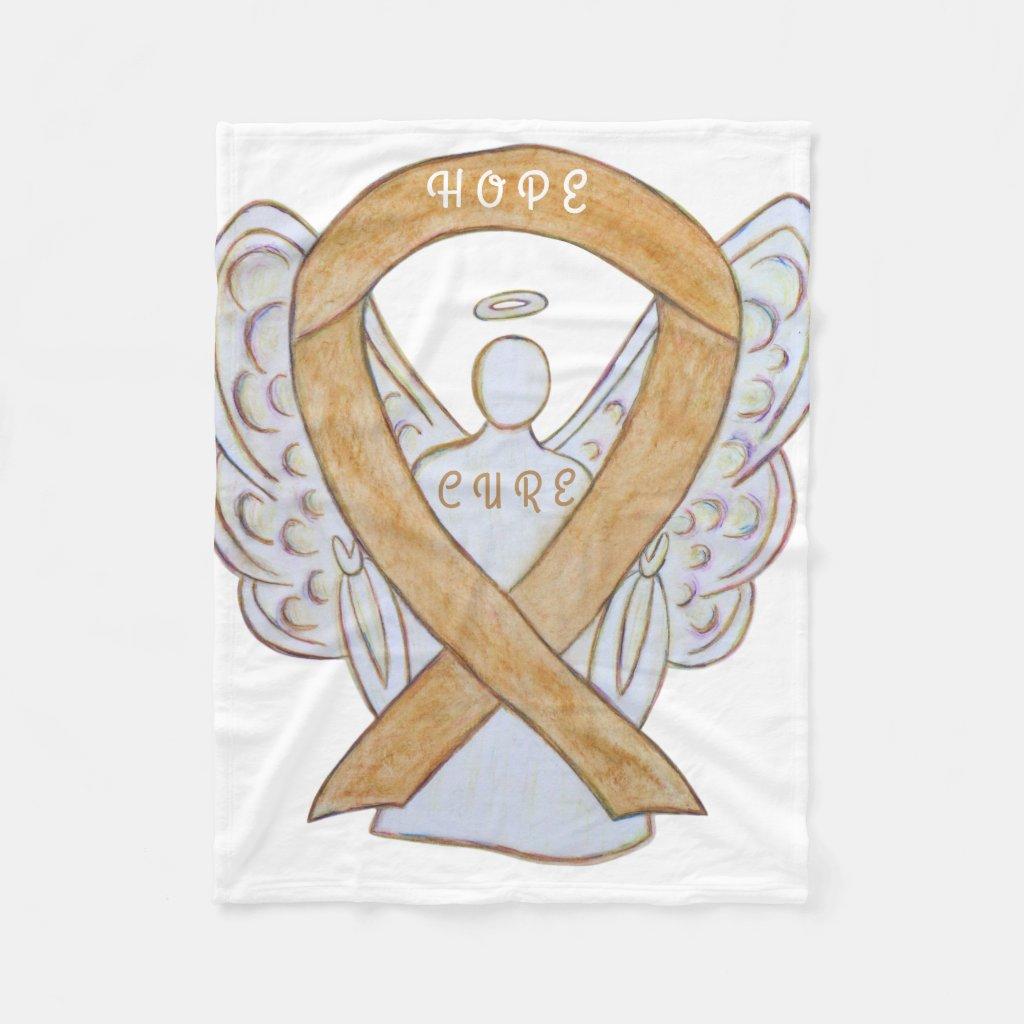 Amber Awareness Ribbon Appendix Cancer Blankets