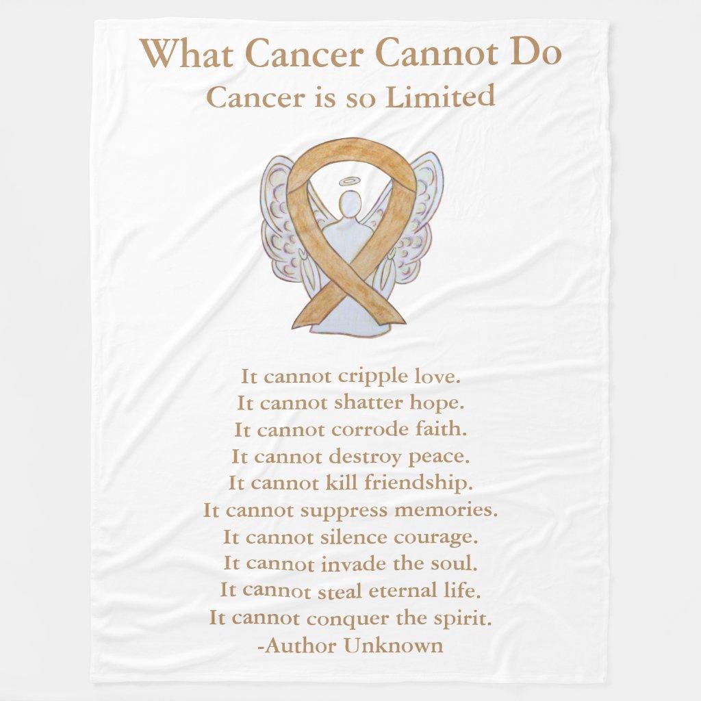 Amber Awareness Ribbon Cancer Angel Chemo Blanket