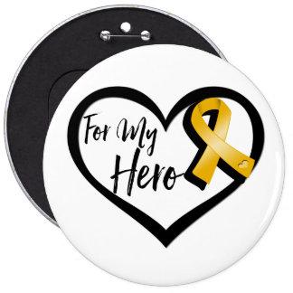 Amber Awareness Ribbon For My Hero Pinback Button