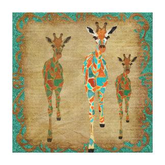 Amber  & Azure Giraffes Art Canvas Canvas Prints