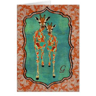 Amber & Azure Giraffes Damask Monogram Notecard Greeting Cards