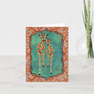 Amber & Azure Giraffes Damask Monogram Notecard