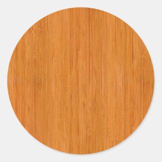 Amber Bamboo Wood Grain Look Classic Round Sticker