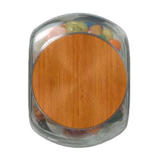 Amber Bamboo Wood Grain Look Glass Jar