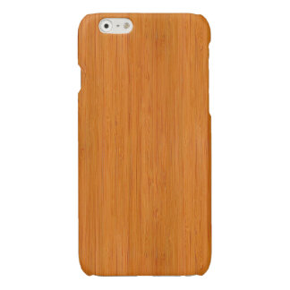 Amber Bamboo Wood Grain Look Glossy iPhone 6 Case