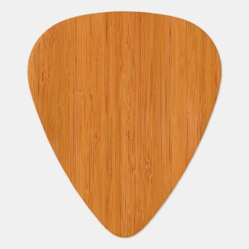 Amber Bamboo Wood Grain Look Guitar Pick by diamondphotography at Zazzle