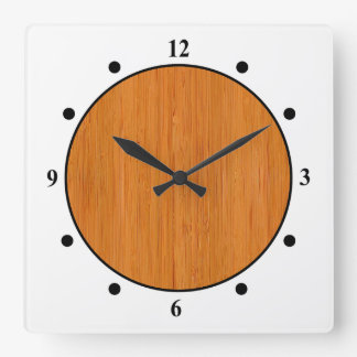 Amber Bamboo Wood Grain Look Square Wall Clock