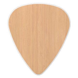 Amber Bamboo Wood Grain Look White Delrin Guitar Pick