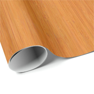 Amber Bamboo Wood Grain Look Wrapping Paper