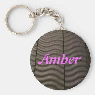 Amber Basic Round Button Keychain