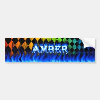 Amber blue fire and flames bumper sticker design. car bumper sticker