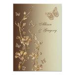Amber, Brown Floral Butterflies Wedding Invitation