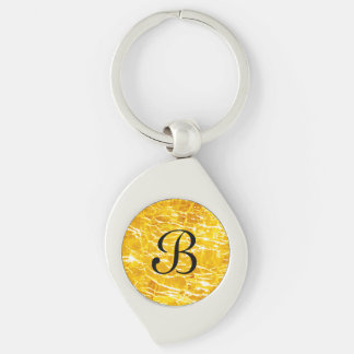Amber Crackled Glass Design Keychain