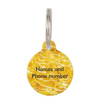 Amber Crackled Glass Design Pet Name Tag