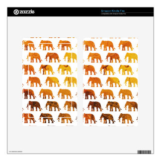 Amber elephants pattern custom background color decals for kindle fire