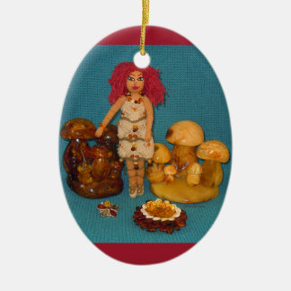 Amber Faerie Doll Ceramic Ornament
