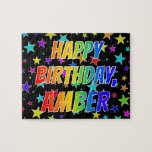 "[ Thumbnail: ""Amber"" First Name, Fun ""Happy Birthday"" Jigsaw Puzzle ]"