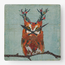 AMBER FLORAL ANTLER OWL SQUARE WALL CLOCK