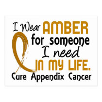 Amber For Someone I Need Appendix Cancer Postcard