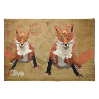 Amber Fox Floral Placemat Cloth Place Mat