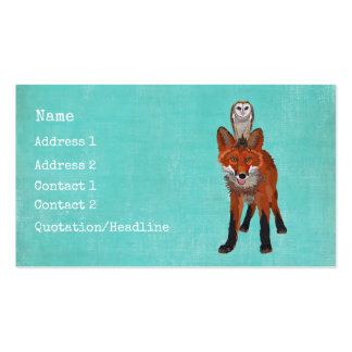 Amber Fox & Owl Business Card