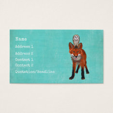Amber Fox & Owl Business Card at Zazzle