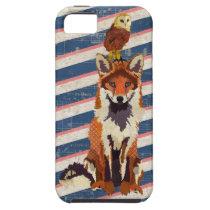 Amber Fox & Owl Navy Stripes Case