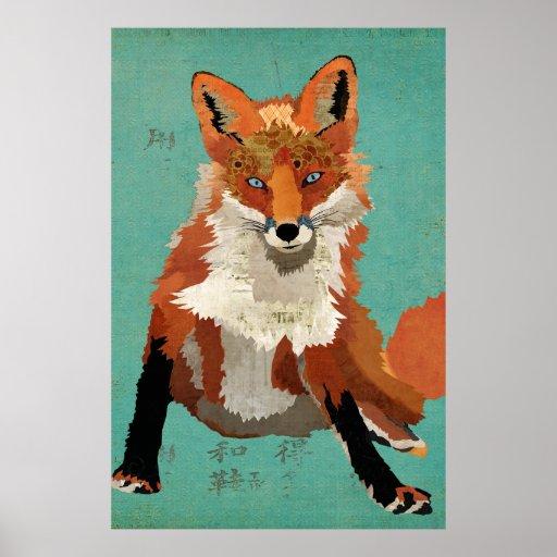 Amber Fox Retro Blue Art Poster