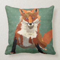 Amber Fox Retro Pillow