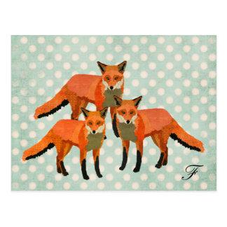 Amber Foxes Monogram Postcard