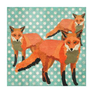 Amber Foxes Polkadot Art Canvas