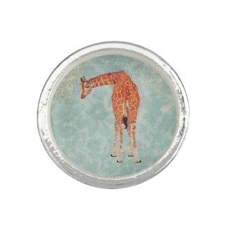 Amber Giraffe Floral Ring