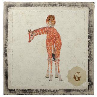 Amber Giraffe & Owl Napkin